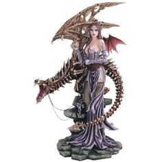 Fairy Collection Pixie With Skeleton Dragon Figure
