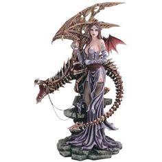 Fairy Collection Pixie With Skeleton Dragon Figure