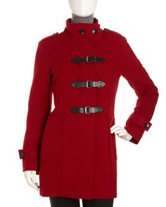 Buckle-Front Coat, Red by Neiman Marcus at Last Call by Neiman Marcus.