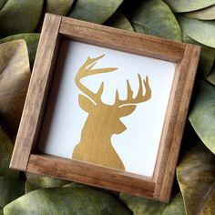 7x7 gold deer Christmas decor wood sign by SplendidBeginnings