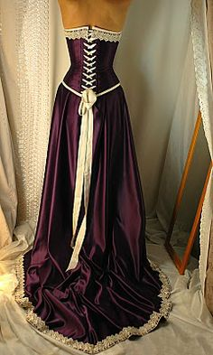 -purple-and-antiqued-ivory-steel corset dress