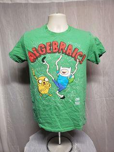 eaf21bfbd Adventure Time Algebraic T Shirt Mens M Finn & Jake Green Tee Cartoon  Network
