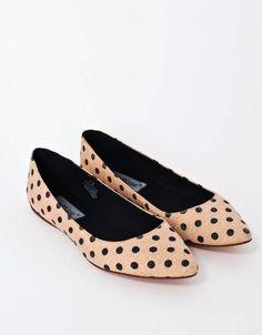 Matisse Kiley Flats | Polka Dot | Natural and Black | Pointed Toe Shoes