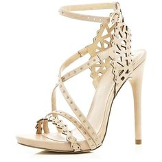 River Island Nude laser cut stiletto sandals (56 CAD) ❤ liked on Polyvore featuring shoes, sandals, heels, sapatos, zapatos, sale, river island shoes, laser cut sandals, nude shoes and heeled sandals