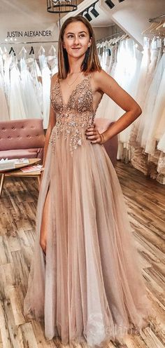 Buy A Line Tulle V Neck Applqiues Prom Dresses With Slit, Spaghetti Straps Long Formal Dresses online.Shop short long ombre prom, homecoming, bridesmaid evening dresses at Couture Candy Cocktail party dresses, formal ball gowns in ombre colors. Pretty Prom Dresses, A Line Prom Dresses, Tulle Prom Dress, Grad Dresses, Elegant Dresses, Dresses Dresses, Quinceanera Dresses, Wedding Dresses, Long Dresses