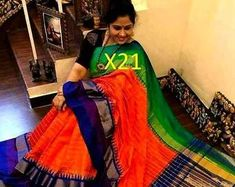 Pure Uppada Silk Saree with Ikkat Pochampally Border Blue Uppada Pattu Sarees, Soft Silk Sarees, Party Wear Sarees, Beautiful Saree, Office Wear, Indian Dresses, Casual Wear, Hand Weaving, Pure Products