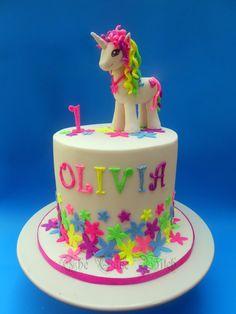 Unicorn / pony cake , Lumo colors and glitter