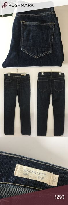 """All Saints Iggy Dark Wash Slim Fit Jeans 30x30 All Saints Mens Iggy Ink Dark Wash Slim Fit Button Fly Jeans Size 30x30 100% Cotton  MEASUREMENTS  LENGTH FROM WAISTBAND 43"""" INSEAM 31"""" RISE 10.5"""" WAIST ALL AROUND 32"""" LEG OPENING 7"""" Excellent condition with no signs of wear whatsoever.  !Quick shipping! WE SHIP EITHER THE SAME BUSINESS DAY OR NEXT. ORDERS ON WEEKENDS ARE IN MAIL BY MONDAY MORNING. All Saints Jeans Slim Straight"""