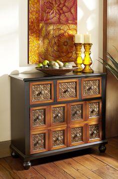 Pier 1 Brisbur Cabinet has a rustic, antique vibe