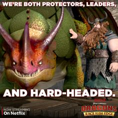 """Stoick and Skullcrusher are one tough team. Watch them in action on the """"Crushing It"""" episode, available on Netflix."""