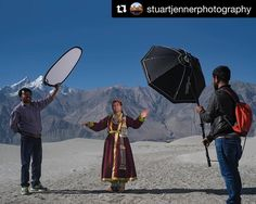 Behind the scenes by @stuartjennerphotography : Behind the scenes at my recent shoot on Sumur sand dunes. A portrait of a Ladakhi woman in traditional dress. Nubra Valley ladakh. India.- - At this stage of my shoot I found it impossible to use a mirrorless camera in the bright conditions so I swapped back to my trusty Canon 1dx Mark II. I used a 50mm at f4 an ND filter to cut the sunlight light down and the woman was lit with an Elinchrom ELB pack through a 100cm Octabox. The desert like…