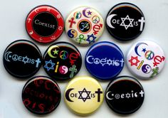 "COEXIST Tolerance Diversity Peace 10 Pinback 1"" Buttons"