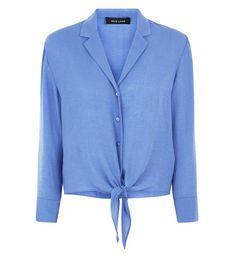 884c16ef3c9 Blue Tie Front Pyjama-Style Shirt