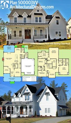 "Architectural Designs Modern Farmhouse Plan 500003VV has a front porch that just screams ""put my rocking chair on it"". All 4 beds are upstairs, leaving the downstairs for family fun and entertaining. The oversized screened porch in back is a plus. Over 3,600 square feet of heated living space overall. Ready when you are. Where do YOU want to build?"