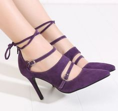 Purple Shoes Pump Office Work Fashion High Heeled Purple Shoes