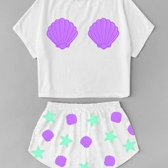 Pijama Mermaid Pigiama a sirena Cute Pajama Sets, Cute Pjs, Cute Pajamas, Girls Pajamas, Pajamas Women, Girls Fashion Clothes, Teen Fashion Outfits, Kids Outfits, Cute Lazy Outfits