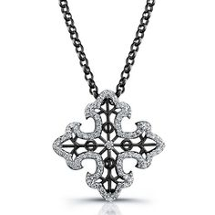 Coby Madison - Black Sterling Silver Diamond Cross Pendant $199