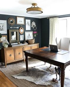 home office style ideas. home office with charcoal gray walls and eclectic gallery wall above a credenza interior decor luxury style ideas