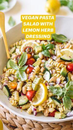 Healthy Pasta Salad, Vegetarian Salad Recipes, Easy Pasta Salad, Pot Pasta, Salad Recipes For Dinner, Easy Pasta Recipes, Vegan Pasta, Healthy Pastas, Pasta Salad Recipes