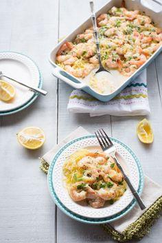Skinny Baked Shrimp Scampi with Spaghetti Squash