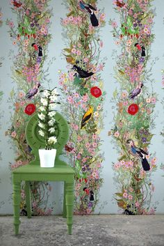 The Fruit Looters wallpaper. As part of their 25th year in textiles and surface design, Timorous Beasties launch a new design trinity in debt to the great master, William Morris.