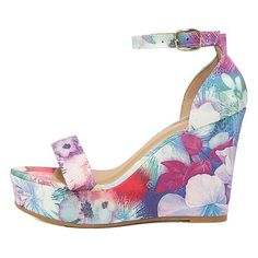 Charleen Purple Multi Ankle Strap Wedge Sandals ($36) ❤ liked on Polyvore featuring shoes, sandals, purple, sexy sandals, ankle strap wedge sandals, floral wedge sandals, wedge sandals and wedge shoes