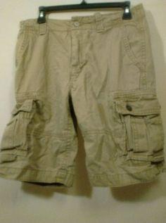 Old Navy 30 Dark Tan Cargo Shorts Outdoors Hiking Fishing Sports Work Job…