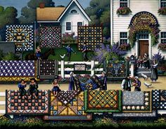 Amazing Amish quilt.  A quilt about quilts!  This is a PUZZLE..................by Eric Dowdle also prints and posters on this site