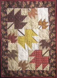 Maple Leaf Quilt in Civil War Reproduction fabrics.  Free pattern available to newsletter customers.