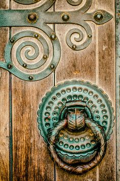 Beautiful door handle and wooden door
