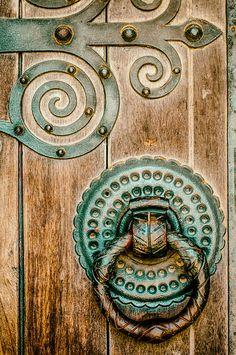 Beautiful door handle and wooden door