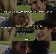 Spiderman scenes. Aww! Peter and Gwen!