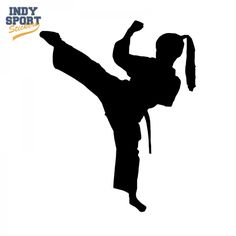 Martial Arts Karate Female Girl Kicking Silhouette Decal or Sticker for your car, window, laptop or any other flat surface.