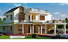 #SingleRoof #ContemporaryHome @ 3163 Sq-ft From #Kerala #House Plans  Ground floor - 2113 sq.ft Porch Sit out Foyer Drawing Dining Bedroom Common toilet Bedroom attached Kitchen Work Area Store Bath & walking closet from work area First floor - 1050 sq.ft Hall 2 Bedroom attached Balcony Total : 3163 Sq.ft