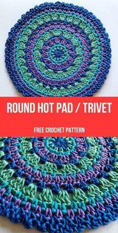 Crochet Sheep, Crochet Simple, Crochet Round, Motif Mandala Crochet, Crochet Hot Pads, Crochet Top, Crochet Chicken, Crochet Potholders, Free Crochet Potholder Patterns