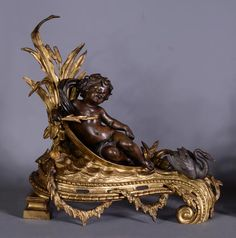Very beautiful antique pair of andirons in bronze with two patinas with decor of putti and swans (Reference - Available at Galerie Marc Maison Architectural Antiques, Swans, Sconces, Frames, Lion Sculpture, Bronze, Fire, Decorations, Dekoration