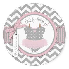 Sweet gray and white chevron print with pink accents and a polka dot jumper tutu and 3D-look ribbon trim girl baby shower gift label.