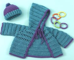 Baby hoodie and hat pattern free crochet~~ Sizes in :  Small (Medium, Large) to fit: Baby 6-12 months (18-24 months,Child's 2-4)