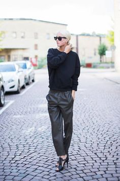 Zara Black Leather Baggy Pants # #Ellen Claesson #Summer Trends #Women's Fashionista #Best Of Summer Apparel #Zara #Pants Baggy #Baggy Pants #Baggy Pants Black #Baggy Pants Zara #Baggy Pants Leather #Baggy Pants Clothing #Baggy Pants 2014 #Baggy Pants OOTD #Baggy Pants How To Style