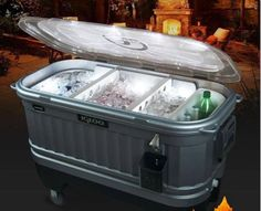 Keep your drinks frosty and the party bumping all day by keeping your beverages in this light up drink cooler. It features a fully insulated body to ensure the temperature stays cool and built-in LEDs so you can keep going after the sun sets. Party Cooler, Beer Cooler, Refreshing Drinks, Fun Drinks, Beverages, Best Soft Cooler, Ice Houses, Beer Opener, Pool Decks