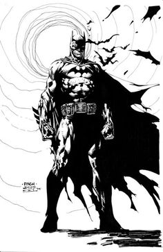 Batman pencils by David Finch, inked (practice) by Emmanuel E. Inks on a Canson bristol board Batman in cave (concept), (no blue, darkened) orig Rare Comic Books, Comic Book Artists, Comic Book Characters, Comic Artist, Comic Books Art, Comic Character, Dc Comics, Heros Comics, Batman Comic Art