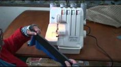 Serging elastic to material. To keep elastic from rolling and twisting on waistbands. Sewing Hacks, Sewing Tutorials, Sewing Crafts, Sewing Ideas, Sewing Tips, Janome Serger, Serger Sewing, Serger Projects, Sewing Projects