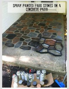 Painted Faux Stones on Concrete using a concrete path form from the home improvement store!Spray Painted Faux Stones on Concrete using a concrete path form from the home improvement store! Outdoor Projects, Home Projects, Outdoor Decor, Indoor Outdoor, Outdoor Crafts, Outdoor Living, Painting Concrete, Concrete Sealer, Paint Cement