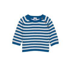 striped cotton knit deck sweater/ petit bateau