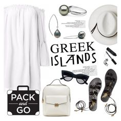 """""""Pack and Go: Greek Islands"""" by pearlparadise ❤ liked on Polyvore featuring Calypso Private Label, Bobbi Brown Cosmetics, contestentry, Packandgo, pearljewelry, pearlparadise and greekislands"""