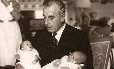 Lord Mountbatten holding his twin grandsons Timothy and Nicholas Knatchbull, the youngest children of his eldest child, Patricia. Nicholas would die along with his grandfather in an IRA bomb attack on Lord Mountbatten's wooden fishing boat, Shadow V. Princess Louise, Princess Alice, Princess Victoria, Queen Victoria, Admiral Of The Fleet, Hesse, British Royal Families, Prince Philip, Prince Harry