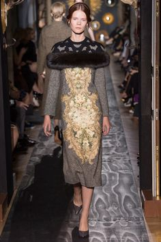 , What a Retro Feel with the Fur Ruff, Lovely, Tweed with Applique Dress & Net Shoulder, Sexy from Valentino Fall 2013 Couture.