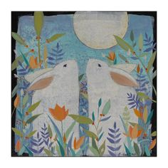Two Rabbitssmall painting Art Painting on Canvas