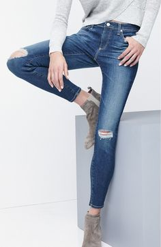 In love with these NSale AG ankle jeans. Vintage fading and shadow creases accent the skinny silhouette.