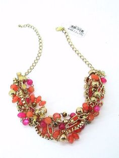 Style and Co Gold Tone Chunky Orange and Pink Multi Bead Twist Trendy Necklace #Statement